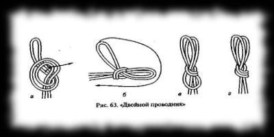 туристские узлы Правильно завязанный узел показан на рисунке 63 г Необходимо следить чтобы при завязывании узла не было перехлеста веревок Двойной проводник не имеет